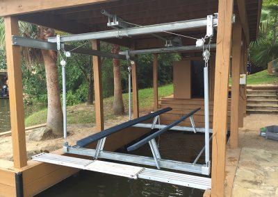 The boat lift company lake conroe livingston houston town ponds overhead boat lift cable lift